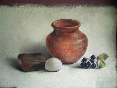 Still life with a Pot and Stones by favouriteflavor