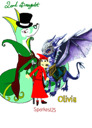 Olivia the dragon meets Sparkest25 + Lord Smugalot by Sparkest25
