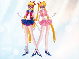 Sailor V and Sailor Rabbit by CrystalSailorMoon