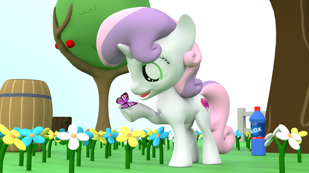 Sweetie Belle and Butterfly by EDplus