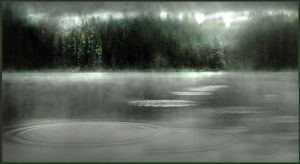 misty lake by vblackangelv