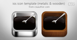 Beautiful ios Apple Icon Template Metalic and Wood by cssauthor