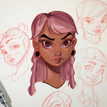 Girl with Pink Hair by ChrissieZullo