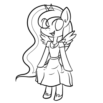 Princess Luna In a Dress (lineart) by Greeny-Nyte