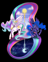 Sun and Moon Sisters by Limelight-Night