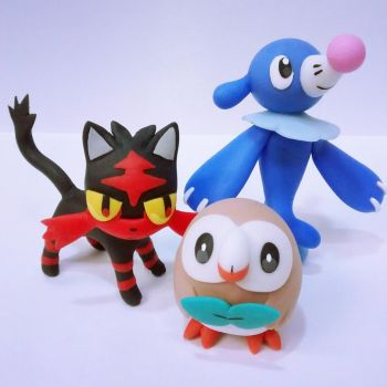 Pokemon Sun Pokemon Moon Rowlet Litten Popplio by tatanRG