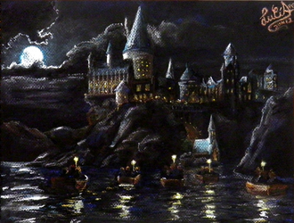 Hogwarts School (made with pastels) by Lucia-95RduS