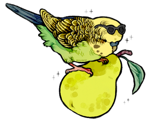 parakeet on a pear with a pair of sunglasses by supichu
