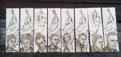Bookmarks with my novel's caharcters by pyrograph by TamaraFaith