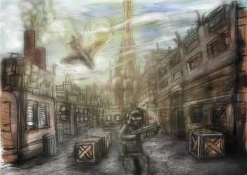 city scene drawing colored by DennisH2010