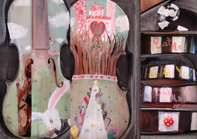Alice in Wonderland Violin Painting by Hatsunation