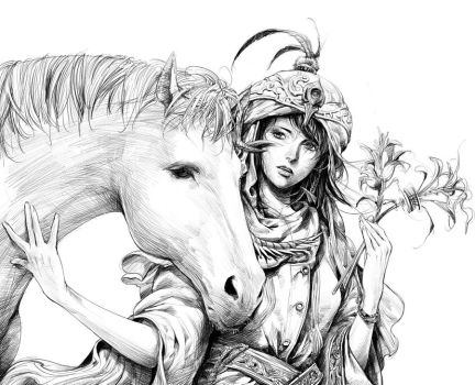 girl and her horse by zhoupeng