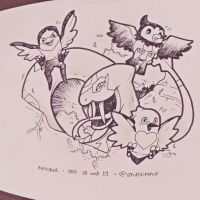 Inktober #18/19: Seviper,Taillow,Starly and Pidove
