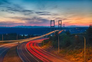 Narrows Bridge and Olympic Mountains by arnaudperret