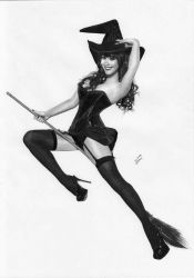 Witch Halloween Pin-up by TimGrayson