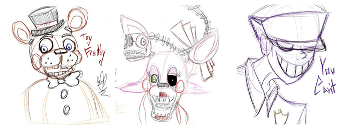 Fnaf 2 Doodles by OpalesquePrincess