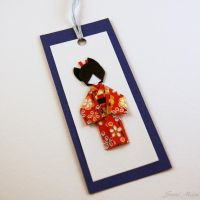 Sold-Bookmark Little Japanese doll - Washi - blu by SuniMam