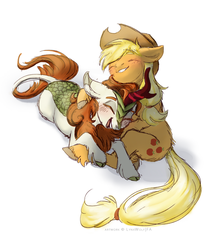 Autumn Blaze and Applejack by QuetEx
