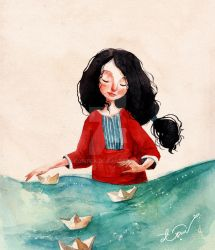 floating paper boat by Cowpea
