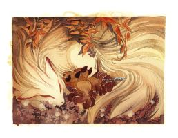 Ninetails and Vulpix Pokemon by blix-it