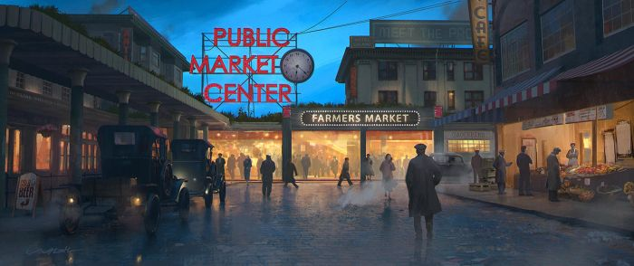 Pike Place Market - Seattle 1920s by stayinwonderland