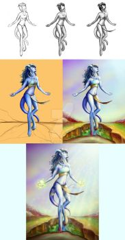 Draenei Shaman Stages by NelEilis