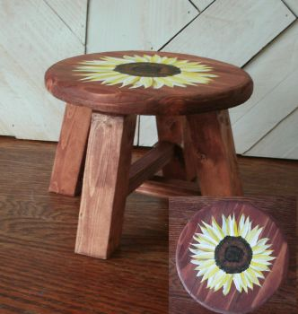 Dark Stained Small Stool with Painted Sunflower by sweetpie2