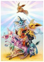 Eeveelution pileup 3 by KaceyMeg