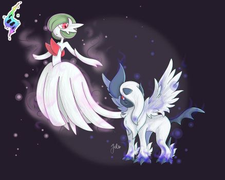 Mega Gardevoir and Absol by JaidenAnimations