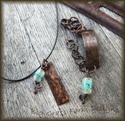 Lampwork Bead and Copper Necklace and Bracelet by bgfdesigns