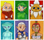 Ocarina of Time - Sages - ACEOs by NightShadeStudio
