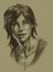 Lara Croft Sketch Portrait by DebbyandArt