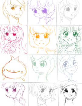 Give Away Bust Sketches 1 by quila111