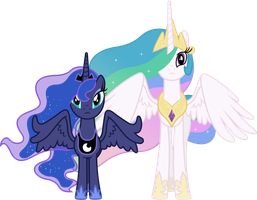 Concerned Princess Celestia and Princess Luna by 90Sigma