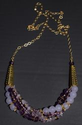 Multistrand Purple Necklace (gold version) by LissaMonster