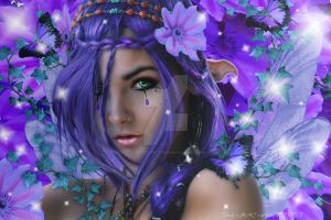 Purple flower fairy by babsartcreations