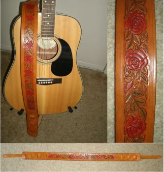 Rose Carved Leather Guitar Strap by JN-Leather