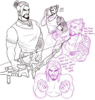 Hanzo doodles by Jellygay