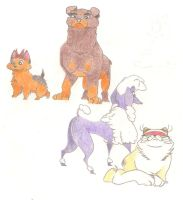 Three Dogs and a Cat by Dead-Raccoons