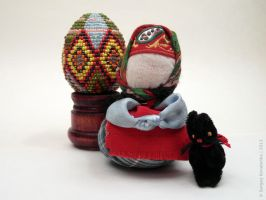 Cat, egg and the Russian woman at the Easter by Teaminds