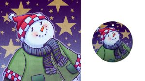 Snowman with Stars Ornament by Nyrak