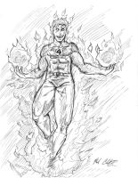 Sketch- Human Torch by Mark-Clark-II