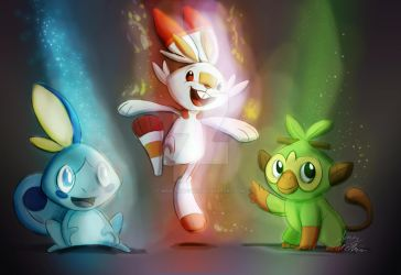 Pokemon Sword And Shield Starters by Mad--Munchkin