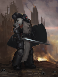 Primaris Black Templar Fan Art by Advisorium