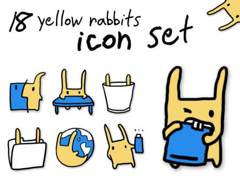 18 Yellow Rabbits Icon Set by InvisibleSnow