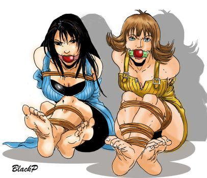 Rinoa and Selphie captured by BlackProf