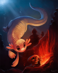 DAY 5. Axolotls (1 hr + 25 Minutes) by Cryptid-Creations