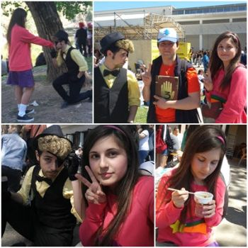 Mabel Pines and Bill Cipher [COSPLAY] by CandyAICDraw