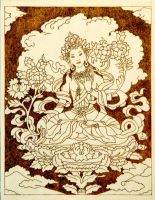 Hindu Goddess Tara beautiful pyrography plaque for by YANKA-arts-n-crafts