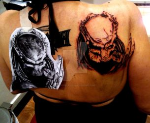 Predator tattoo in process by VempireTattoo